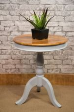 MAR-231 ROUND MANGO PEDESTAL TABLE WITH PAINTED GREY BASE